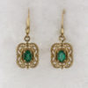 14k Yellow Gold Filigree Setting with Oval Cut Emerald Earrings