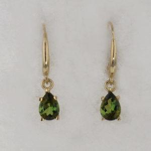 14k Yellow Gold Green Tourmaline Earrings