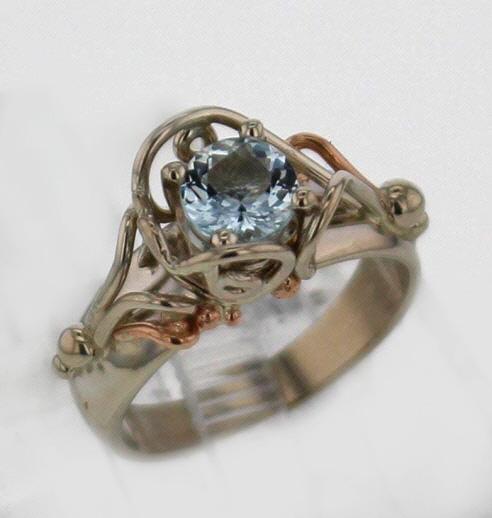 14kw Aquamarine Ring 687
