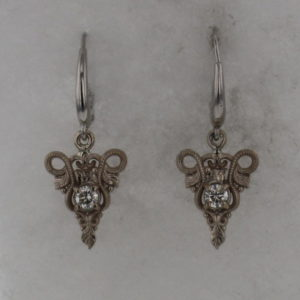 14k White Gold and Diamond Earrings