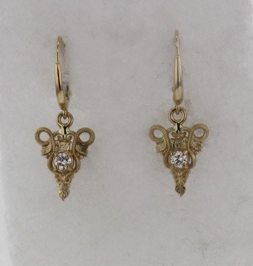 14k Yellow Gold and Diamond Earrings