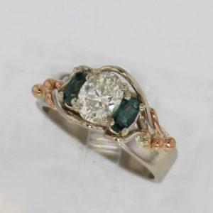 14k White Natural Diamond and Alexandrite Ring $5199