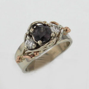 14k White w Rose Natural Color Shift Garnet and Diamond Ring $3,187