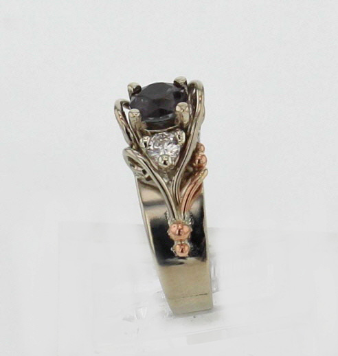 14k White w Rose Gold Color Shift Garnet Ring $3,187
