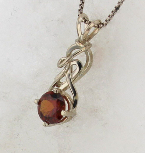 14k White Gold and Spessartine Garnet Pendant $567