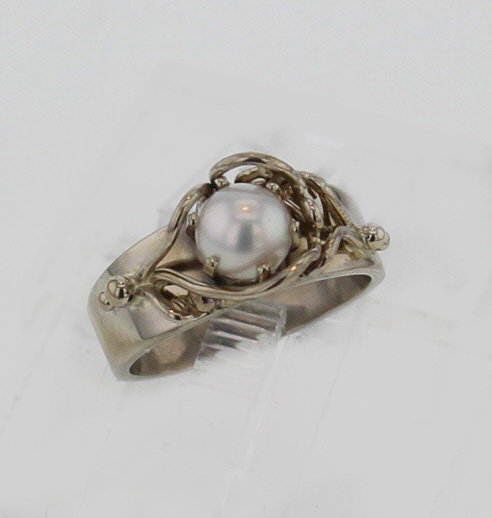 14k Handcrafted White Gold Setting and Natural White Pearl Ring