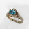 14k White w Rose Gold and Blue Zircon Ring $819