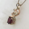 14k White w Rose Gold and Garnet Pendant $867