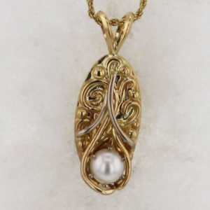 14k Yellow with White Gold Pearl Pendant $375