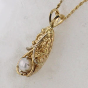 14k Yellow w White Gold Pearl Pendant $375