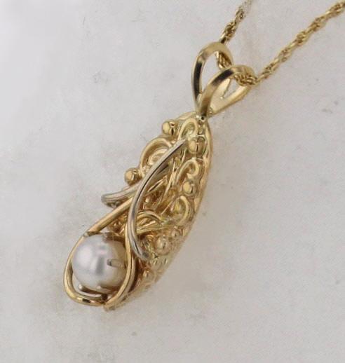 14k Yellow w White Gold Pearl Pendant $375