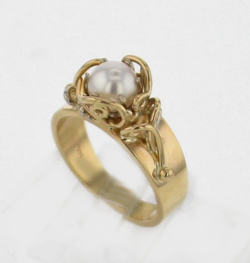 14k Yellow Gold Handcrafted Setting and Natural Pearl Ring $749