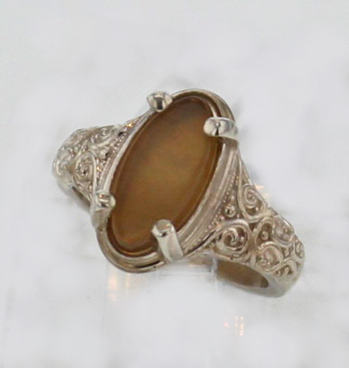 Sterling Silver and Golden Agate Ring $129