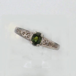 Sterling Silver and Green Sapphire Ring $139