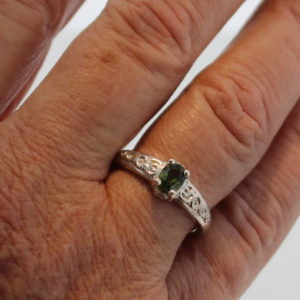 Sterling Silver and Green Sapphire Ring
