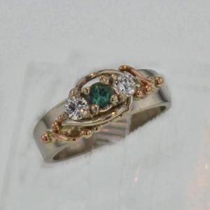 14k White w Rose Gold Alexandrite and Diamond Ring