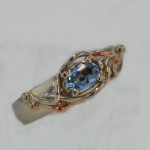 14k White w Rose Gold Aquamarine Ring 599