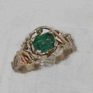 14k White w Rose Gold Emerald Ring $867
