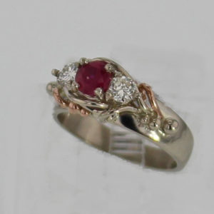 14k White w Rose Gold and Natural Ruby Ring $1,487