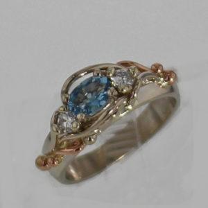 14k White w Rose Gold Aquamarine and Diamond Ring 877