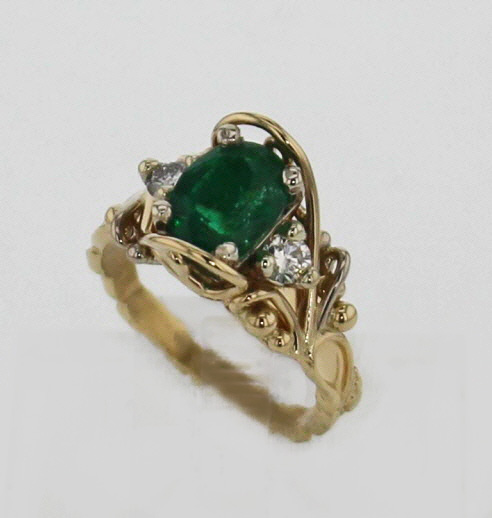 14k Yellow w White Gold Emerald and Diamond RIng $3,179