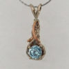 14k White w Rose Gold Blue Zircon Pendant