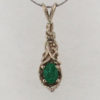 14k White Gold and Natural Emerald Pendant 629