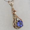 14k White w Rose Gold Natural Tanzanite and Diamond Pendant
