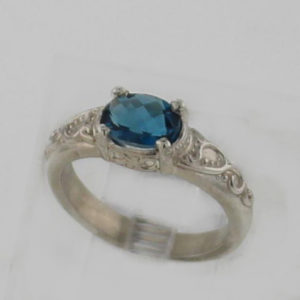 Sterling Sliver and Natural Blue Topaz Ring