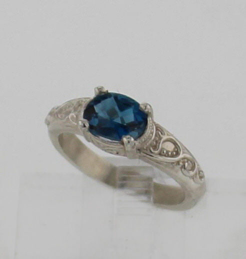 SS and Natural Topaz Ring 139